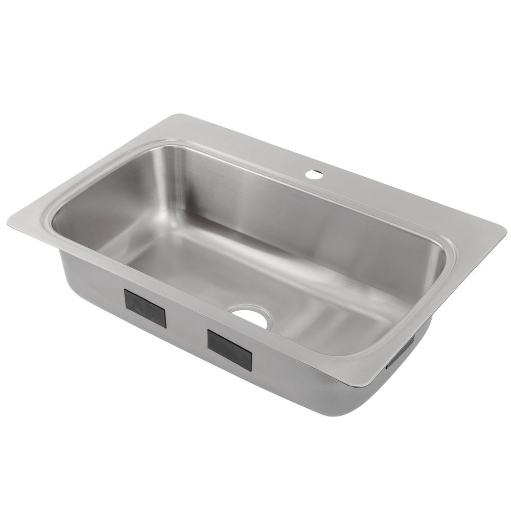 KOHLER Verse Drop-in Stainless Steel 33 in. 1-Hole Single Bowl ...