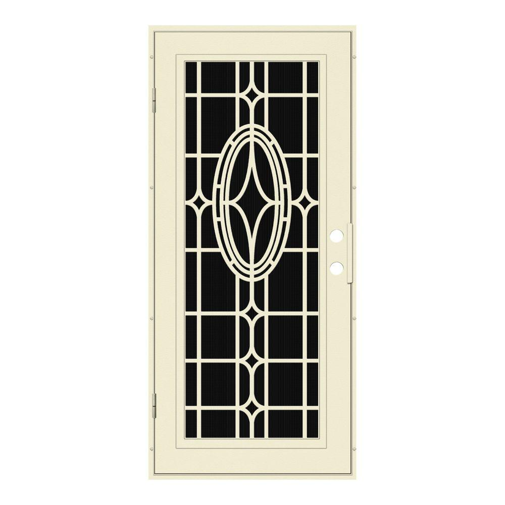 Unique Home Designs 36 in. x 80 in. Modern Cross Beige Left-Hand Surface Mount Aluminum Security Door with Charcoal Insect Screen