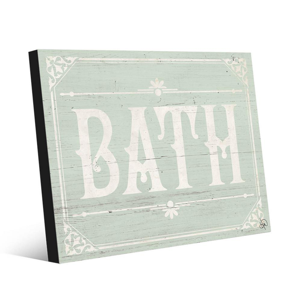 Creative Gallery 16 In X 20 In Rustic Bath Green Metal Wall Art Print Bat00071m1620fm The Home Depot