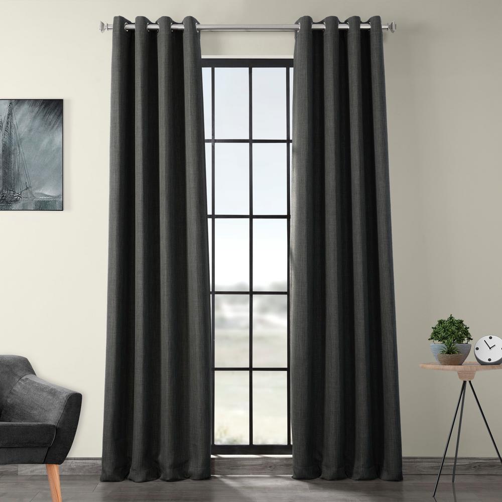 Dark Gravel Green Faux Linen Grommet Blackout Curtain - 50 in. W x 120 in. L