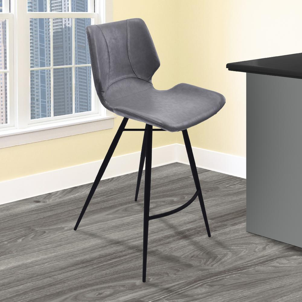 Zurich 26 in. Vintage Gray Faux Leather and Black Metal Finish