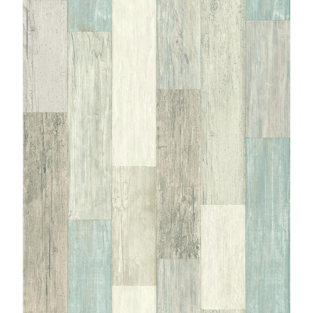 RoomMates RoomMates 28.18 sq. ft. Coastal Weathered Plank Peel and Stick Wallpaper, Blue/Tan