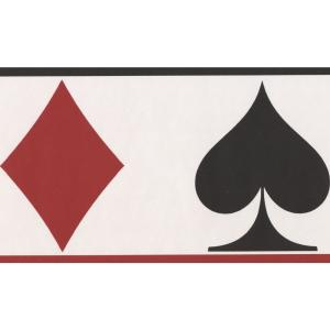Poker White Black Red Card Suits Prepasted Wallpaper Border