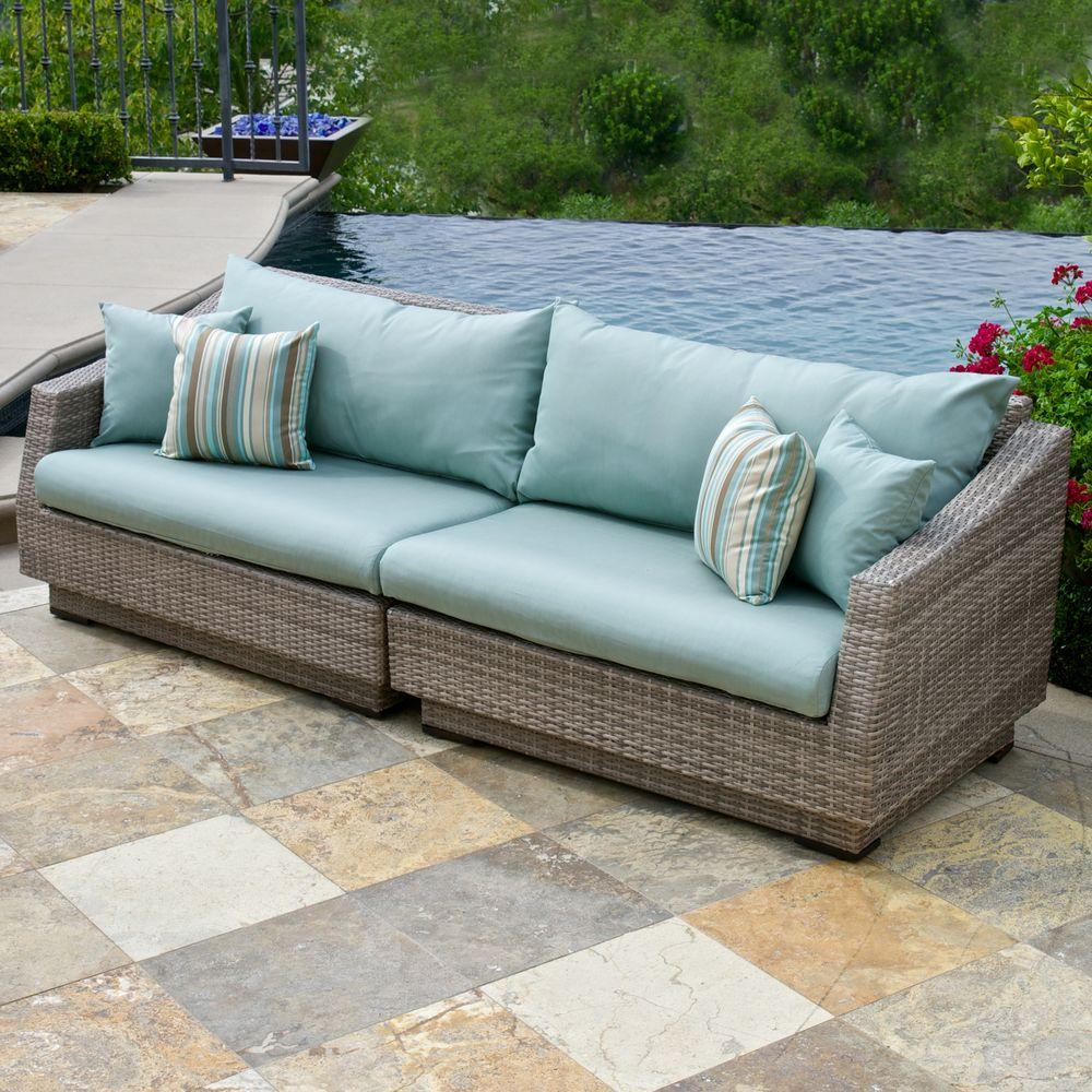 Rst Brands Cannes 2 Piece Patio Sofa With Bliss Blue