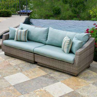 Cannes 2-Piece Patio Sofa with Bliss Blue Cushions