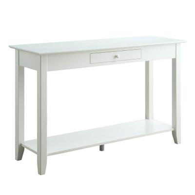 American Heritage White Console Table with Drawer