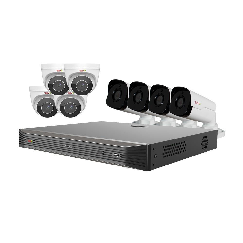 Revo Ultra HD Audio Capable 16-Channel 3TB 4K NVR Surveillance System with Eight 4 Megapixel Cameras