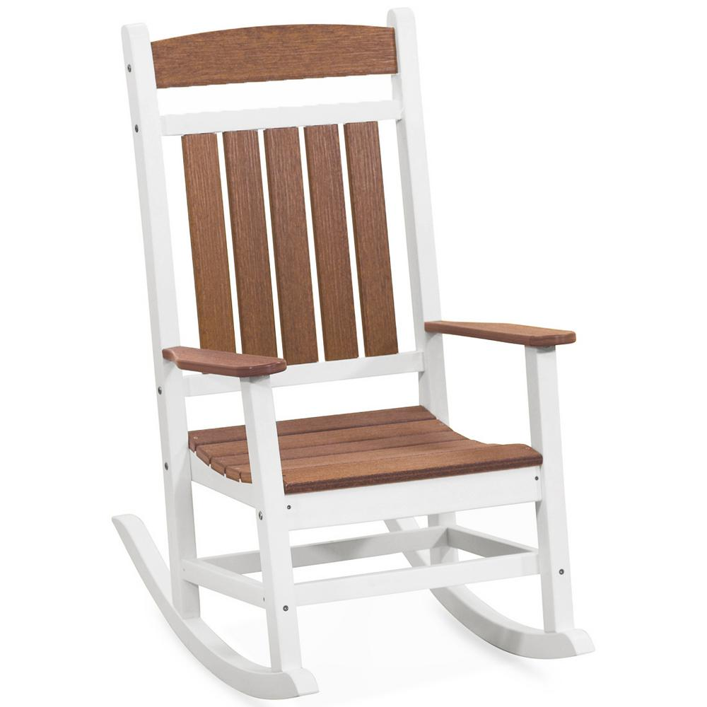 Cool Durogreen Classic Rocker White And Antique Mahogany Plastic Outdoor Rocking Chair Caraccident5 Cool Chair Designs And Ideas Caraccident5Info