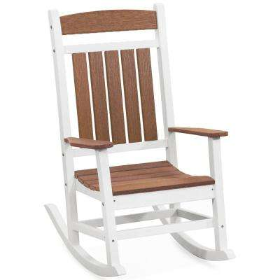 Classic Rocker White and Antique Mahogany Plastic Outdoor Rocking Chair