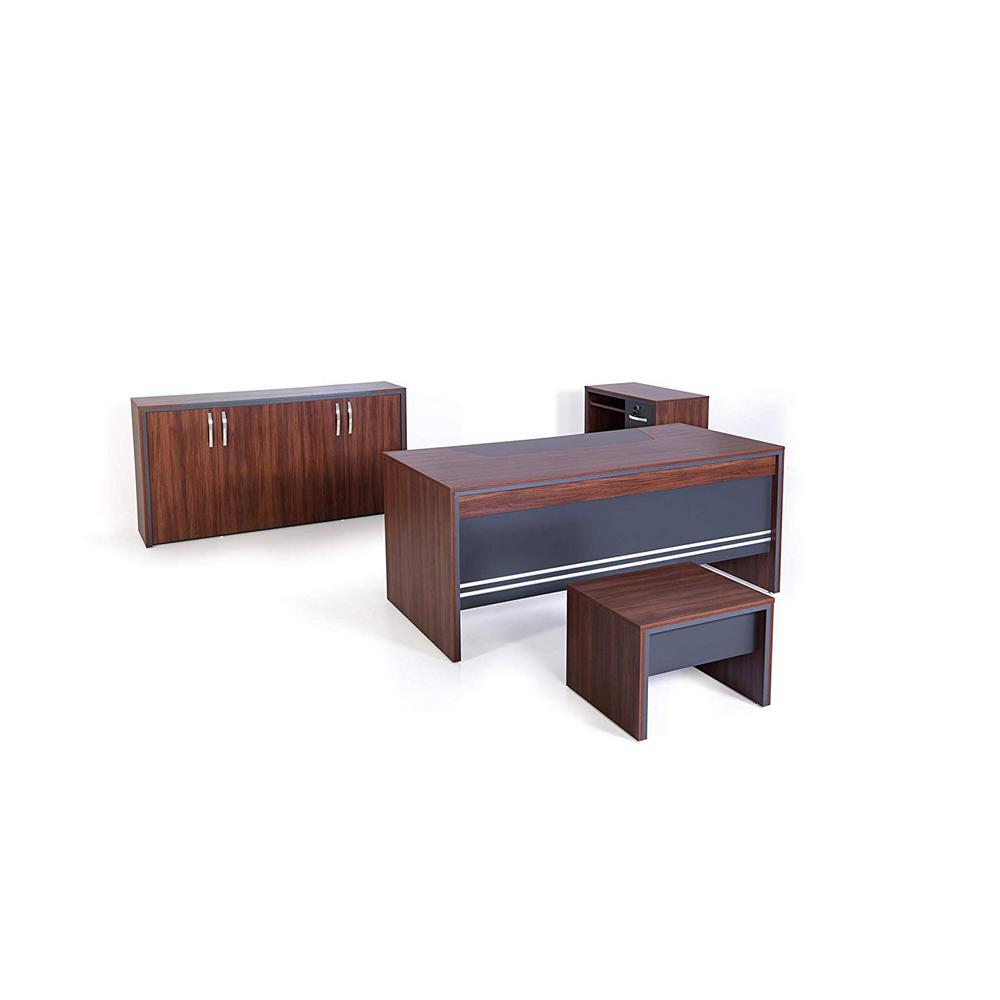 71 in. Rectangular Oak/Grey with Storage 3-Drawer Computer Desk
