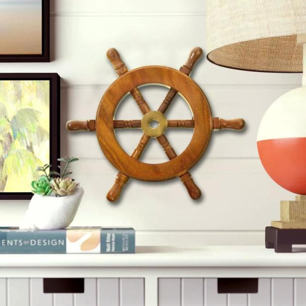 Benzara 6 In Decorative Brown Ship Wheel Wall Art Work Of Wood And