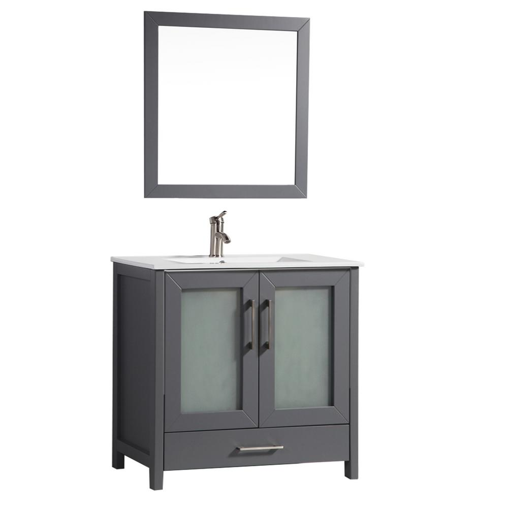 MTD Vanities Argentina 48 in. W x 18 in. D x 36 in. H Vanity in Grey with Porcelain Vanity Top in White with White Basin and Mirror