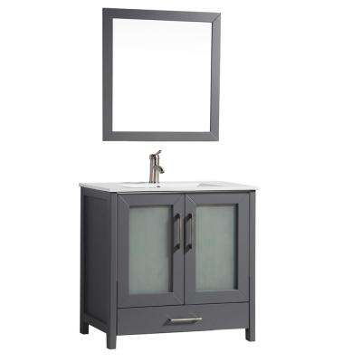 Argentina 48 in. W x 18 in. D x 36 in. H Vanity in Grey with Porcelain Vanity Top in White with White Basin and Mirror