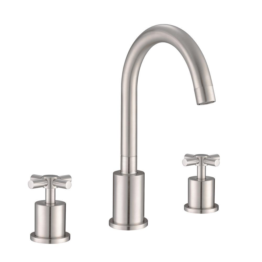 Prima 3 8 in. Widespread 2-Handle Bathroom Faucet in Brushed Nickel