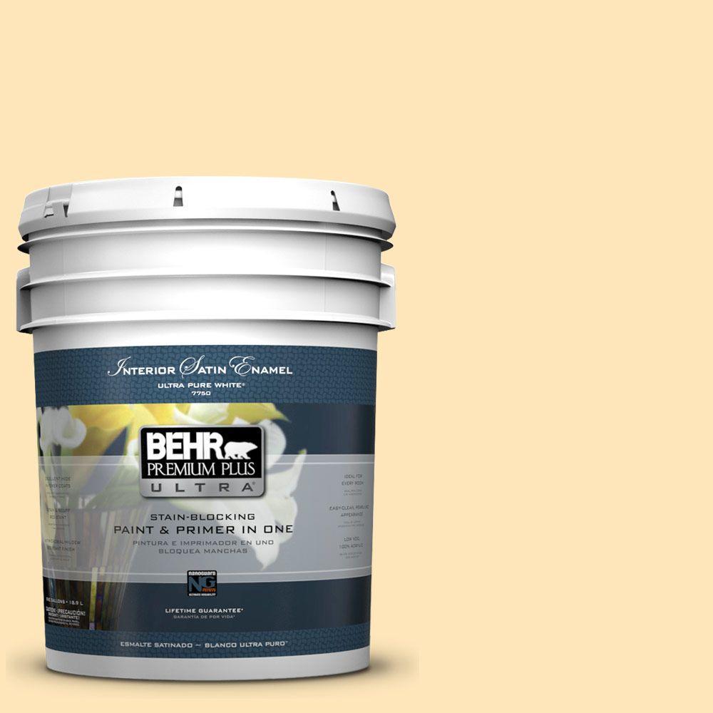 BEHR Premium Plus Ultra 5-gal. #300A-2 Whisper Yellow Satin Enamel Interior Paint