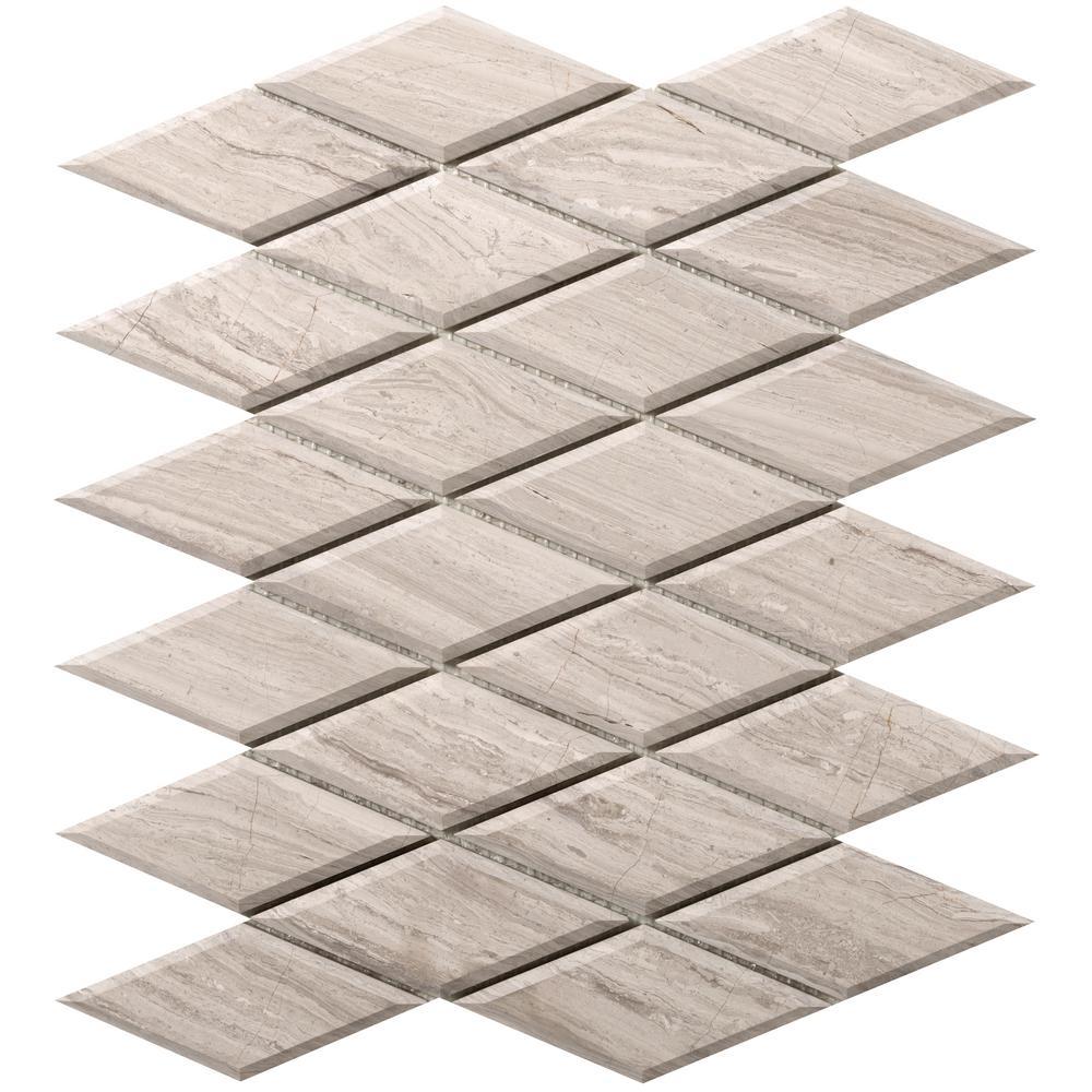 Metro Cream Diamond 10 in. x 13 in. x 10 mm Limestone Mosaic Tile (0.9 sq. ft.)
