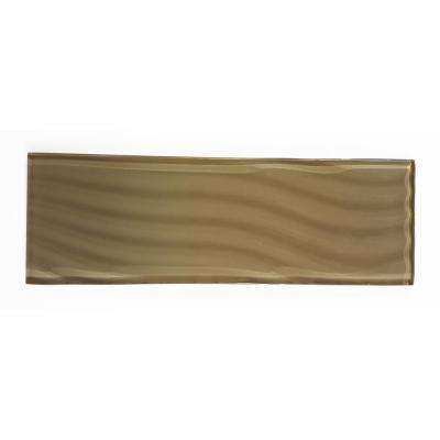 Pacific Sepia Brown 4 in. x 11-3/4 in. Glass Wall Tile (3-Pack)