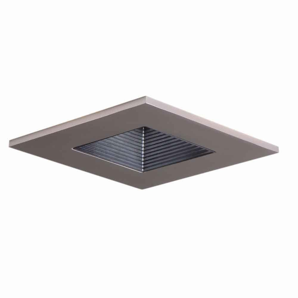 3 in. Satin Nickel Recessed Ceiling Light Square Trim with Regressed