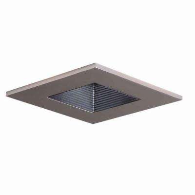 3 in. Satin Nickel Recessed Ceiling Light Square Trim with Regressed Lens, Wet Rated Shower Light