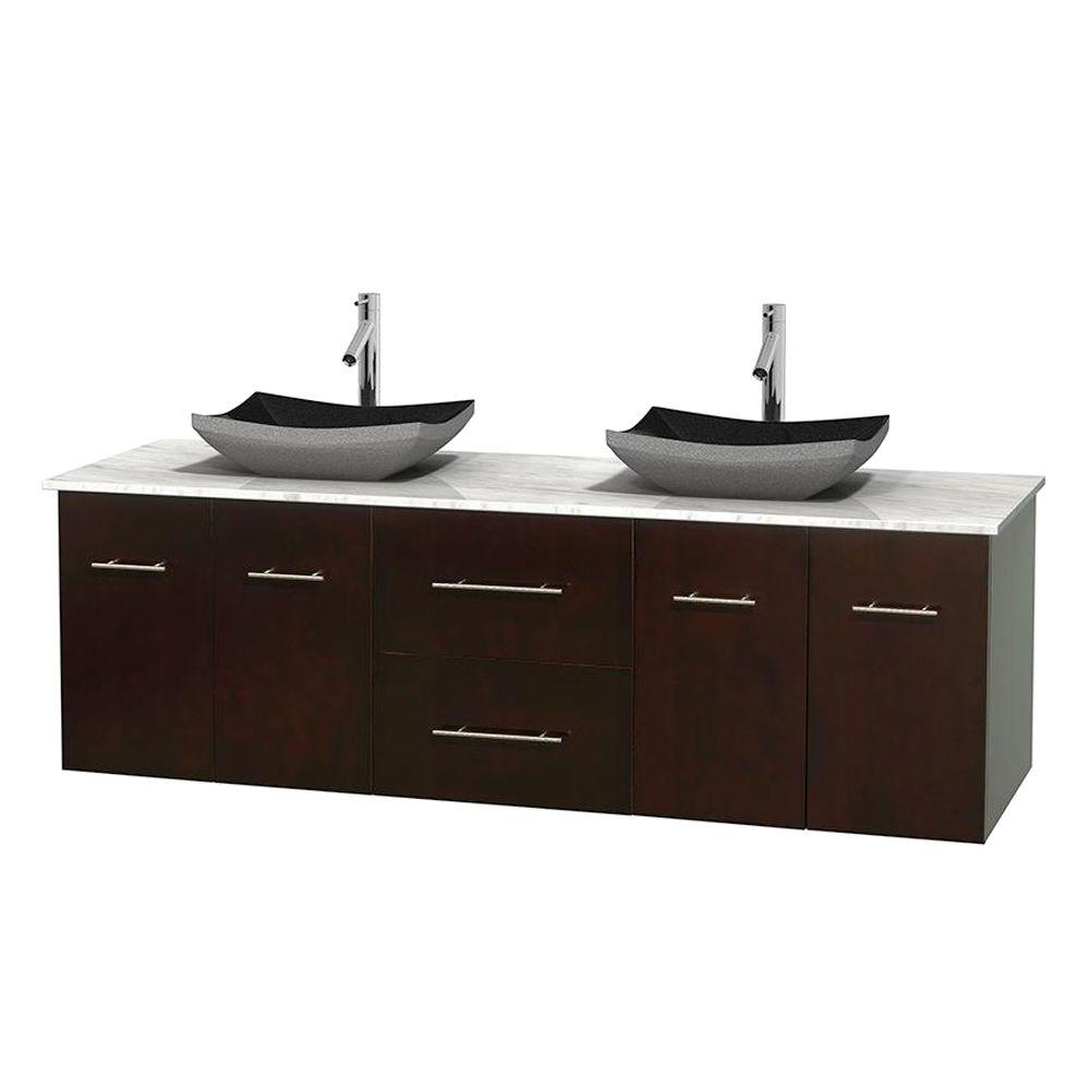 Wyndham Collection Centra 72 in. Double Vanity in Espresso with Marble Vanity Top in Carrara White and Black Granite Sinks