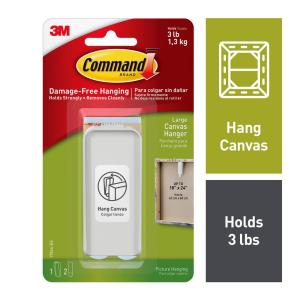 Command Large White Canvas Picture Hanger (1-Canvas Hanger) (2-Adhesive  Strips)-17044-ES - The Home Depot