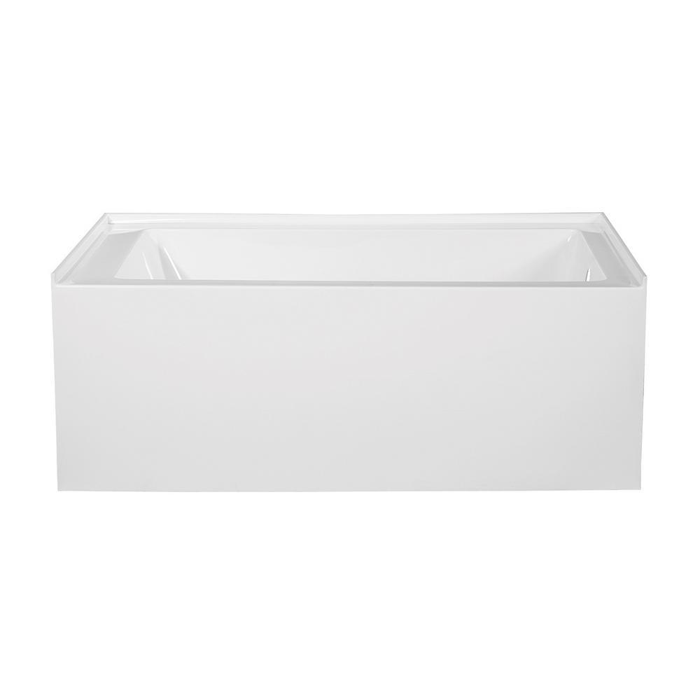 Bertha 60 in. Acrylic Right-Hand Drain Rectangular Alcove Bathtub in White