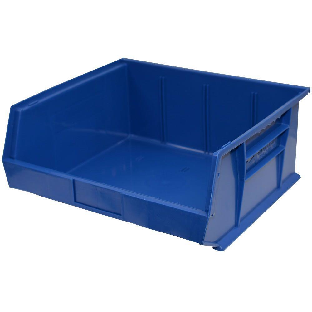 16-1/2 in. W x 14-3/4 in. D x 7 in. H Stackable Plastic Storage Bin in Blue (6-Pack)