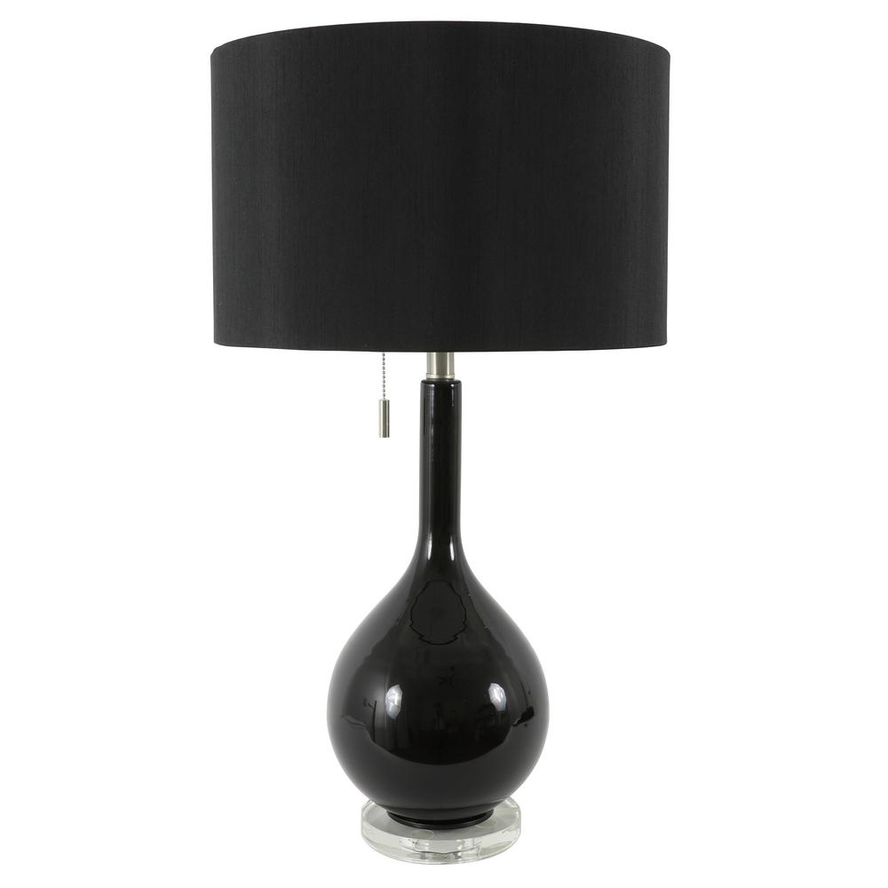 Decor Therapy Reagan 29 5 In Black Glass And Crystal Table Lamp