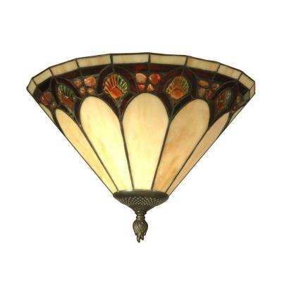1-Light Antique Bronze Crystal Jeweled Pebblestone Sconce