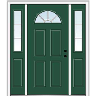 68.5 in. x 81.75 in. Internal Grilles Left-Hand 1/4-Lite Clear Painted Fiberglass Smooth Prehung Front Door w/ Sidelites