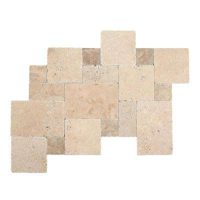 Travertine Peruvian Cream Paredon Pattern Natural Stone Floor and Wall Tile Kit (6 sq. ft. / case)