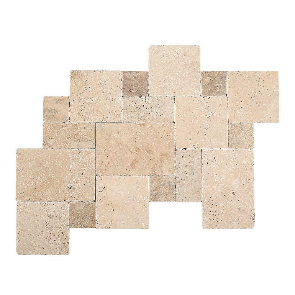 Travertine Peruvian Cream Paredon Pattern Natural Stone Floor and Wall Tile Kit (6 sq. ft. / case)
