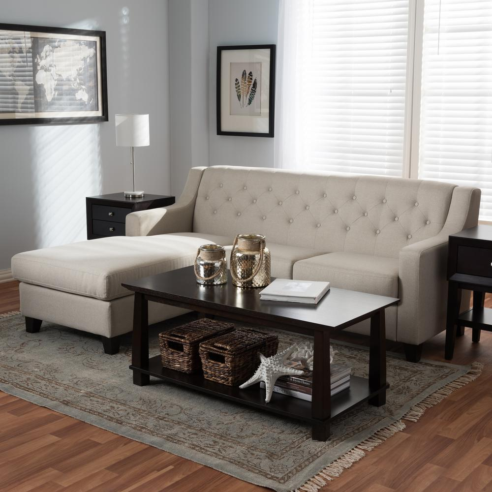 Baxton Studio Arcadia 2 Piece Contemporary Beige Fabric Upholstered Left  Facing Chase Sectional Sofa