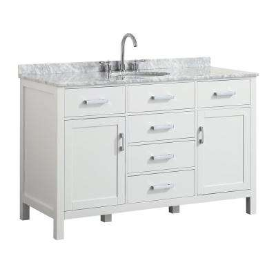 Hampton 55 in. W x 22 in. D Bath Vanity in White with Marble Vanity Top in White with White Basin