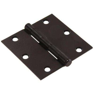 3-1/2 in. Black Residential Door Hinge with Square Corner Removable Pin Full Mortise (9-Pack)