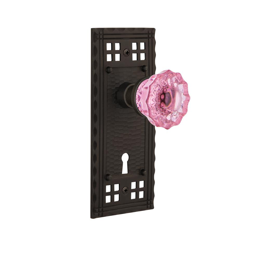 Craftsman Plate Interior Mortise Crystal Pink Glass Door Knob in Oil-Rubbed Bronze