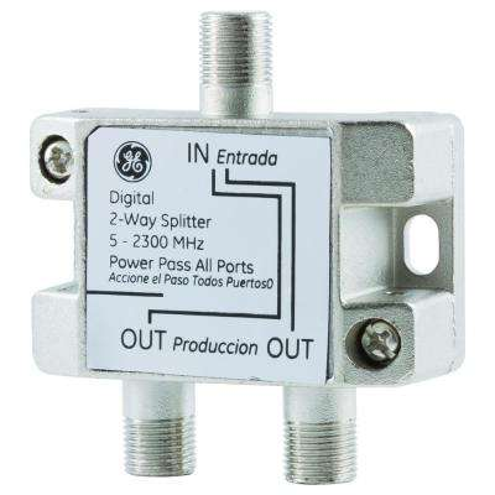 Digital 2-Way Coaxial Cable Splitter, 5-2300 Mhz, Corrosion Resistant -  Nickel/Silver