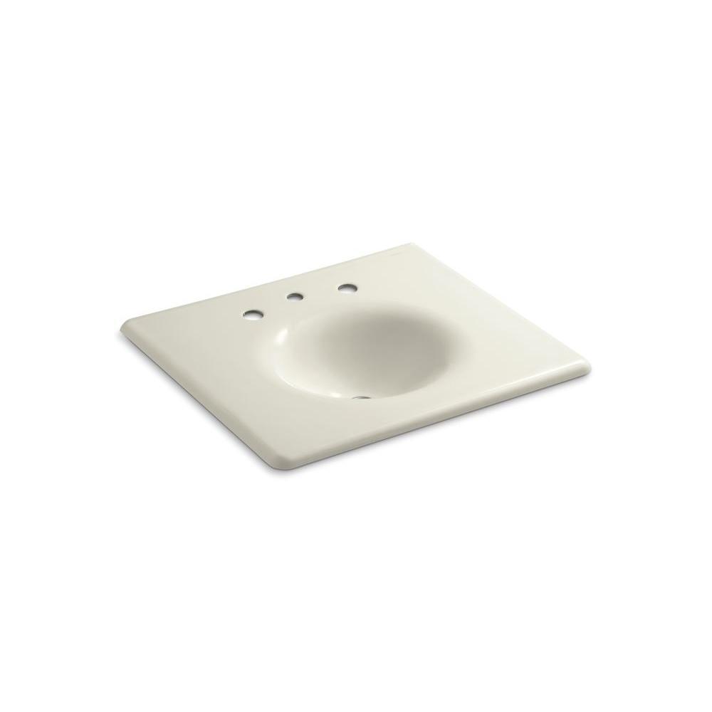 kohler in iron impressions vanity top bathroom sink in biscuit k 3048 8 96 the home depot. Black Bedroom Furniture Sets. Home Design Ideas
