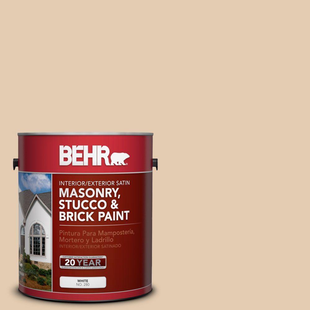 1-gal. #MS-14 Miami Peach Satin Interior/Exterior Masonry, Stucco and Brick Paint