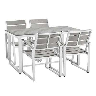All Weather Grey Aluminum Outdoor Dining Set (5 Piece)