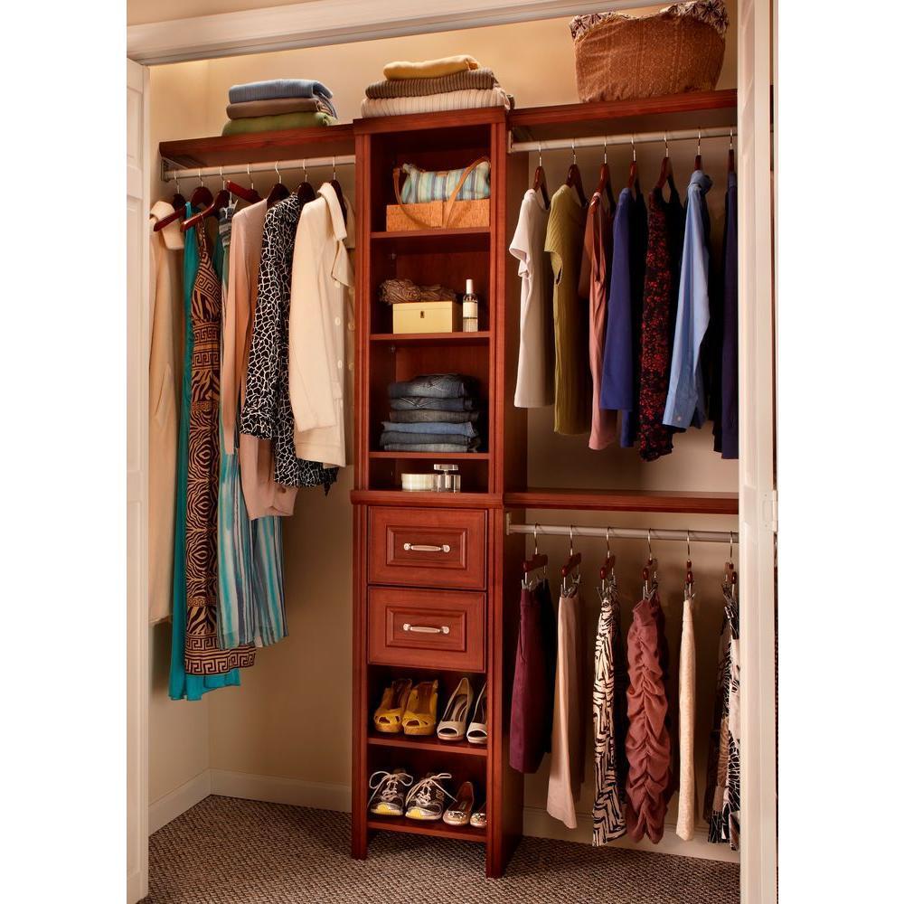Impressions Narrow 48 in. W - 108 in. W Dark Cherry Wood Closet System