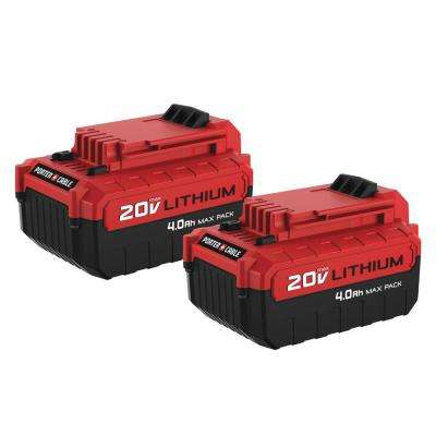 20-Volt MAX 4.0 Ah Lithium-Ion Battery Pack (2-Pack)