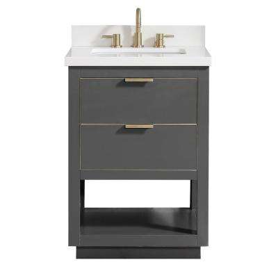 Allie 25 in. W x 22 in. D Bath Vanity in Gray with Gold Trim with Quartz Vanity Top in White with Basin
