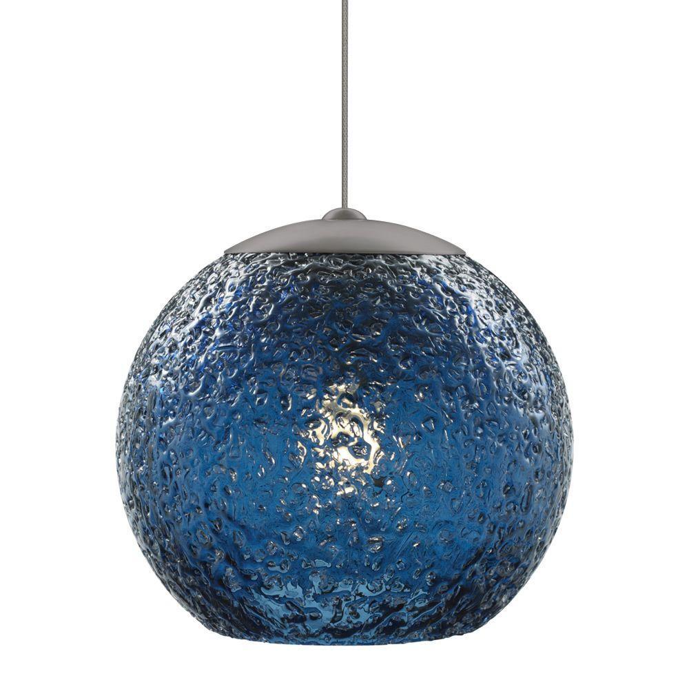 LBL Lighting Mini-Rock Candy Round 1-Light Bronze Xenon Hanging Mini Pendant with Steel Blue Shade