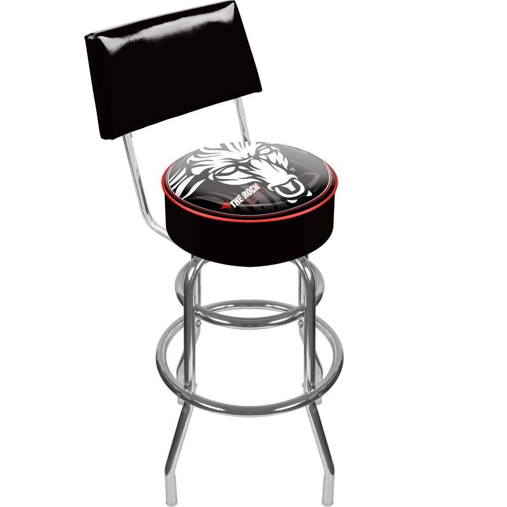 Trademark WWE The Rock Padded Swivel Bar Stool with Back I
