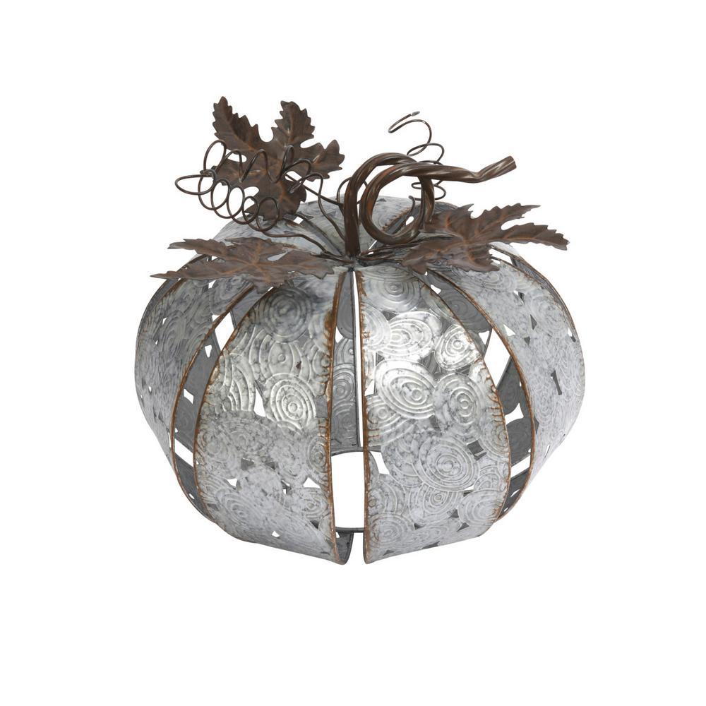9.45 in. Silver Metal Pumpkin with Leaves