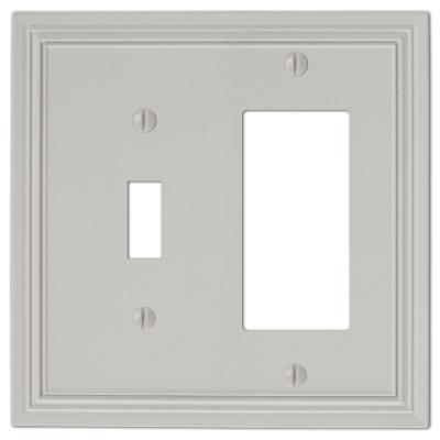 Hallcrest 2 Gang 1-Toggle and 1-Rocker Metal Wall Plate - Gray