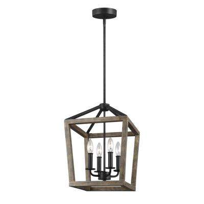 W 4 Light Weathered Oak Wood And Antique Forged Iron