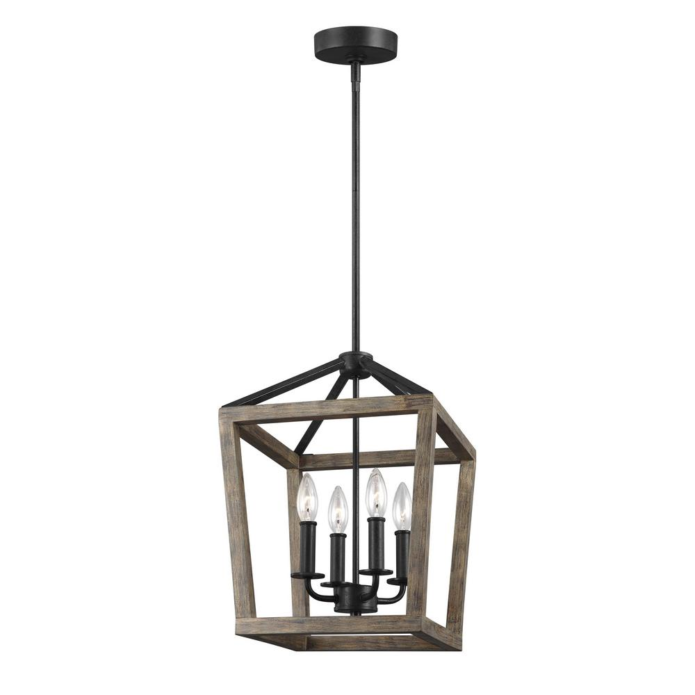 Feiss Gannet 12 in. W. 4-Light Weathered Oak Wood and Antique Forged Iron Chandelier