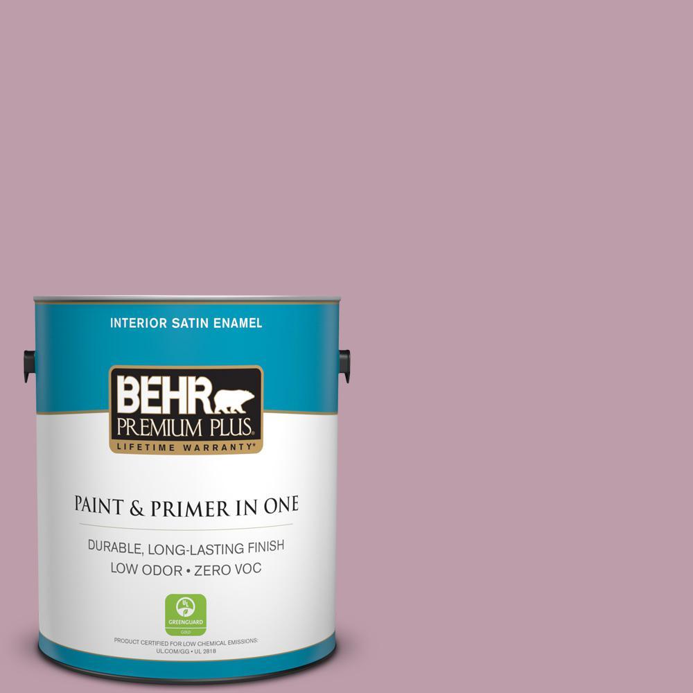BEHR Premium Plus 1-gal. #ICC-110 Vintage Merlot Zero VOC Satin Enamel Interior Paint